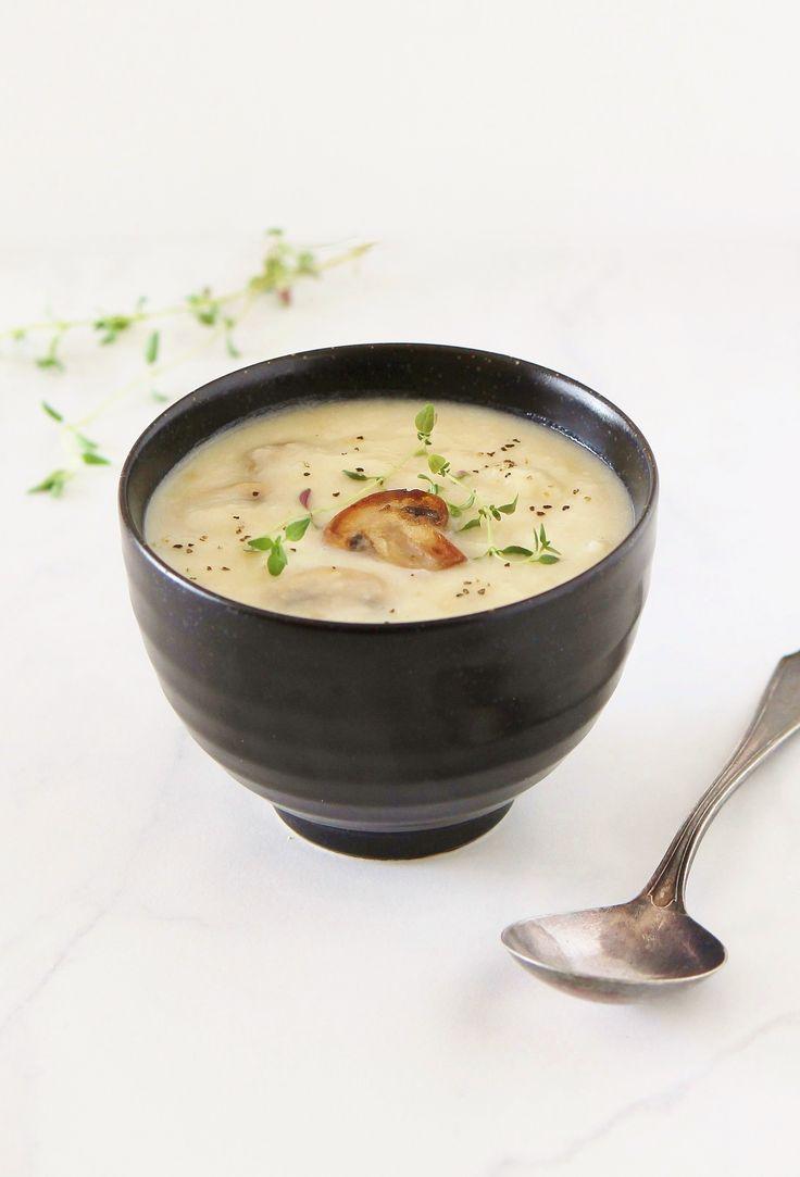 Roasted Garlic & Creamy Potato Soup with Seared Mushroom | Inspired Edibles