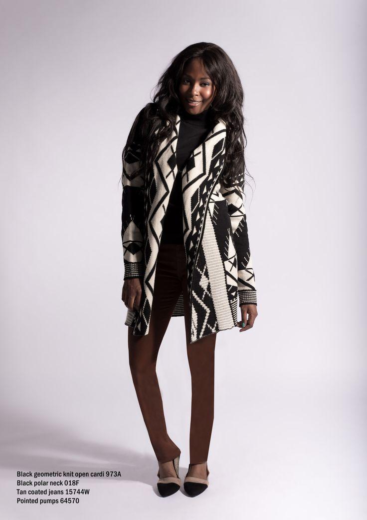 973A Black geometric knitwear cardi