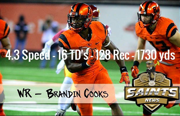 Saints Draft Prospect: Brandin Cooks (WR) - 4.3 Speed - 16 TD's - 128 Rec - 1730 yds  #Saints #WhoDat #NFLDraft