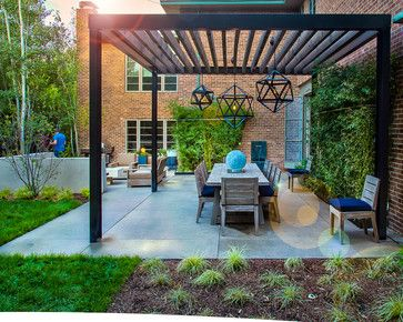 Mid-Century Modern Renovation contemporary patio pergola. Like the style, do not like that it is free standing.
