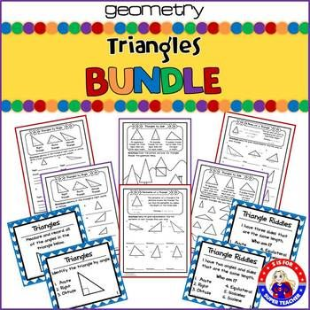 This is a fun and interactive Triangle Activity Bundle. There is a large variety to choose from ranging from matching cards to riddle cards to worksheets. You will find something that is perfect for every child. Matching Cards (4-Part Cards) -Equilateral Triangle -Isosceles Triangle -Scalene Triangle -Right Triangle -Acute Triangle -Obtuse Triangle -Parts of a triangle -Triangle -Base -Perimeter -Area -Vertex -Altitude -Hypotenuse -Height