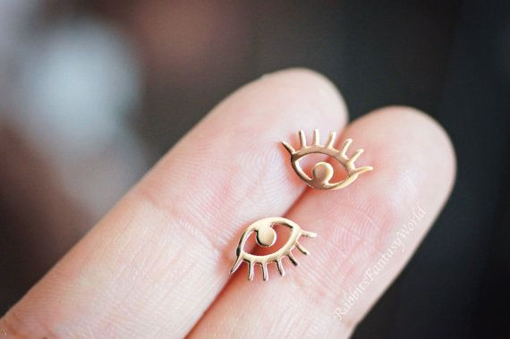 Eye stud earrings - rose gold studs, cool gifts, gold jewelry, for sensitive skin, birthday gift, halloween gift for her, evil eye