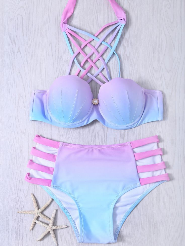 Alluring Lace-Up Hollow Out Gradient Bikini Set Mermaid so adorable  #afflink