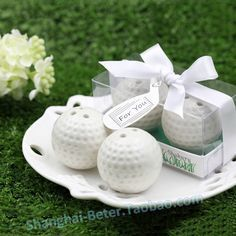 Ceramic Golf Ball Salt and Pepper Shaker Wedding Favors