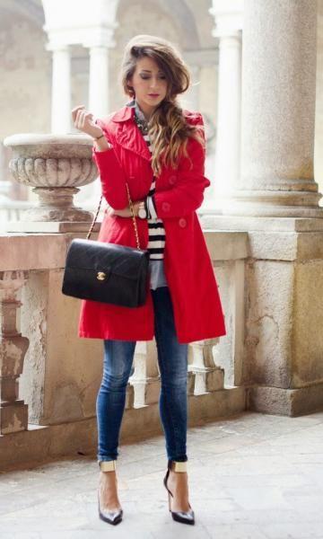 jeans + listra + casaco vermelho