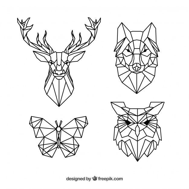 Paquet de tatouages polygonaux pour animaux Vecteur gratuit