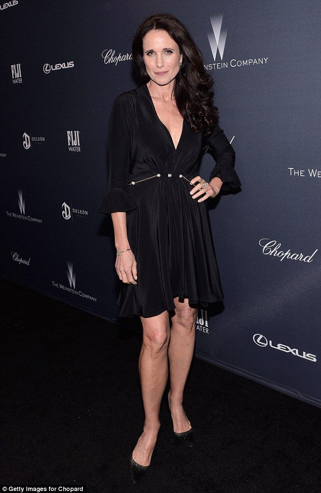 Black to basics: Actress Andie MacDowell showcased her timeless beauty and toned legs in a classic black dress