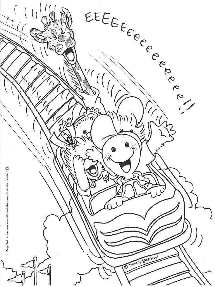 Little Suzys Zoo Coloring Pages Roller Coaster
