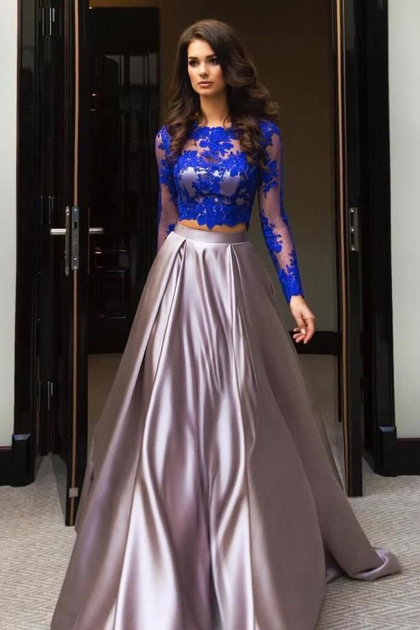 8baa67d1765 A Line Royal Blue Two Piece Long Sleeve Lace Top Prom Dresses OK614 ...
