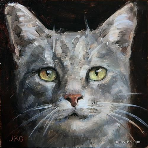 """Daily Paintworks - """"Grey Cat Head"""" by J. Dunster"""