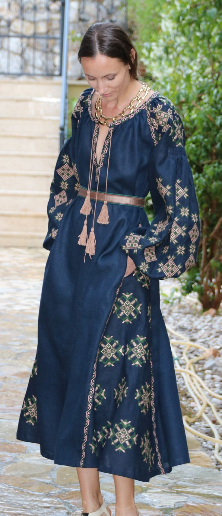 Navy Vita Kin style linen vyshyvanka linen MIDI dress tan green Embroidery. Sizes - XS-XXL MD042-00302