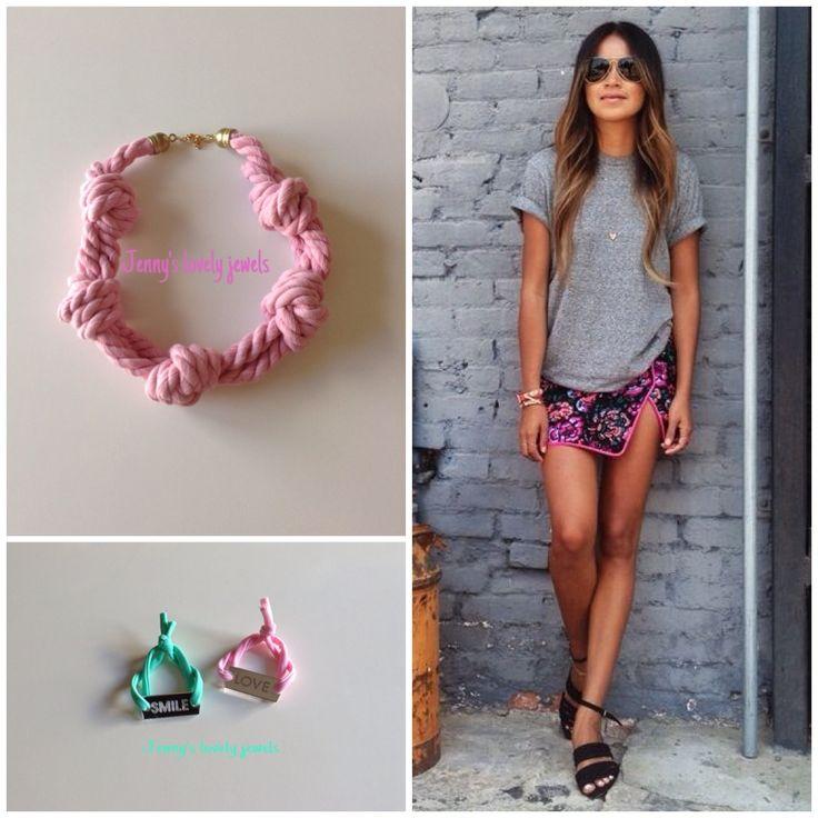 Street style pink necklace bracelets