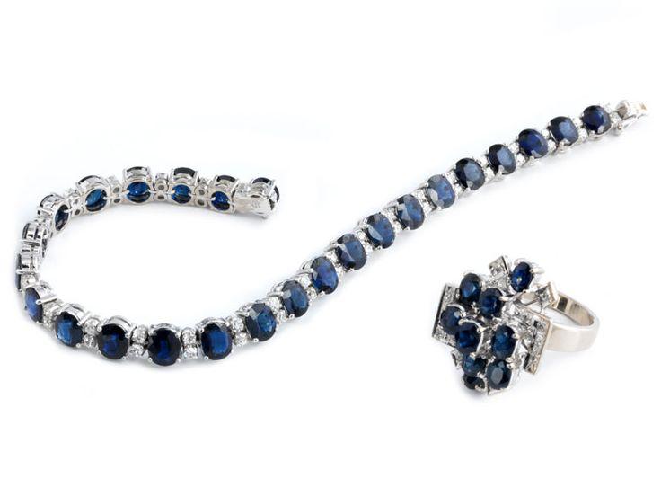 Armbandlänge: ca. 18 cm. Gewicht: ca. 25,5 g. WG 750. Dekoratives Armband mit oval-facettierten Saphiren, zus. ca. 13,5 ct, im Wechsel mit Diamanten im...