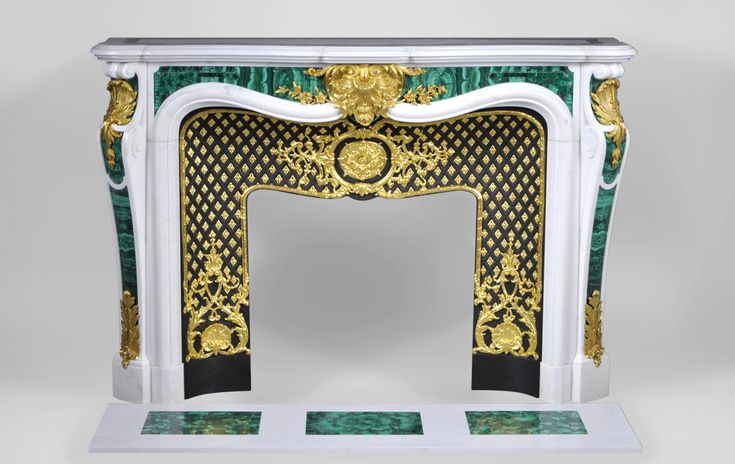 """""""Païva with malachite inlays"""", exceptional White Carrara marble fireplace with gilded bronze ornaments (ref.PAM02) - #fireplace #malachite"""