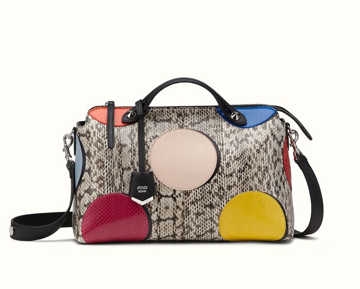The Fendi By The Way Large Multi-coloured Elaphe Boston bag with large Ayers polka dots and calfskin detailing,