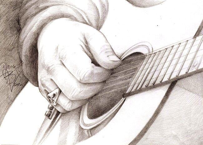 Les 25 meilleures id es de la cat gorie guitare dessin sur - Main dessin crayon ...