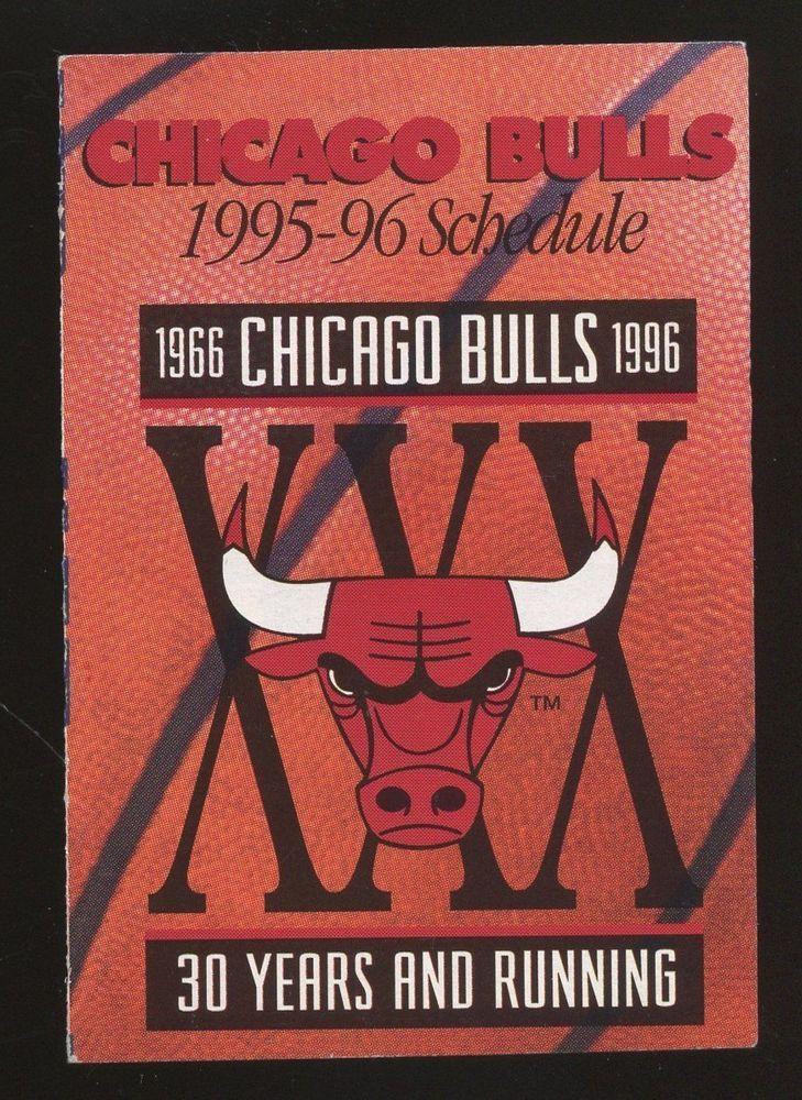 1995 1996 Chicago Bulls Schedule Michael Jordan NBA Champions VERY RARE