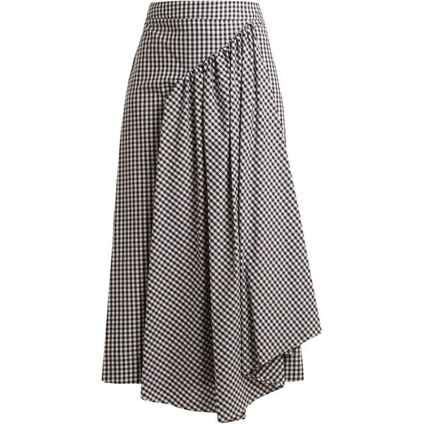 Simone Rocha Pleat-front gingham cotton midi skirt ($424) ❤ liked on  Polyvore