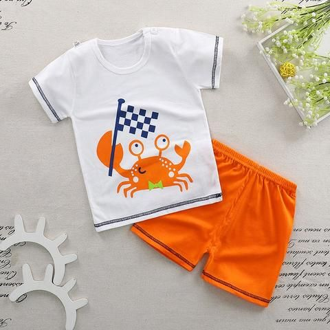 e8361825ac9 Summer Spring Baby Boy Clothing Set Cotton Cute Short Sleeve T-shirt  Top+Pants Suits Baby Boy Girl Fashion Costumes Unisex Wear