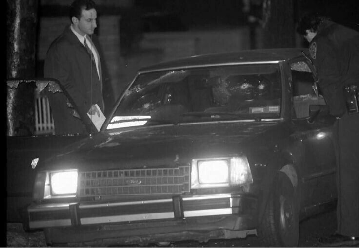 Colombo capo and longtime FBI informant Greg Scarpa's bullet ridden car on Nov 18, 1991 after a failed assassination attempt. The members of the hit team came from capo William (Wild Bill) Cutolo's crew