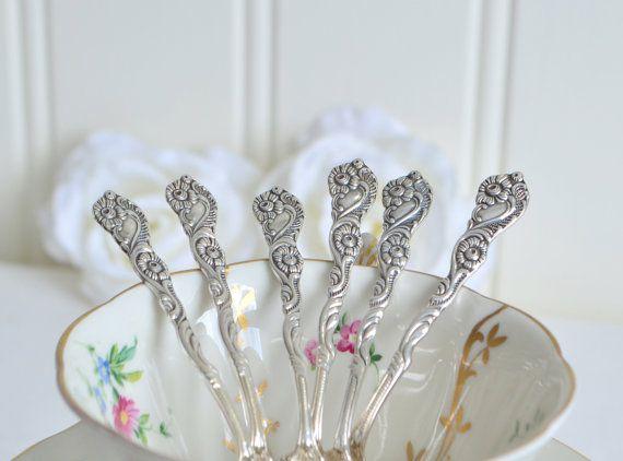 Ornate mocha spoons, vintage Swedish demitasse cutlery, Nils Johan midcentury flatware