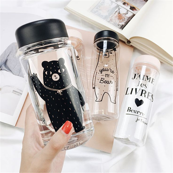 Portable Plastic Transparent Bear Printing Water Bottles Space Cup Large Capacity Beverage Tea Juice Cup 500ml 350ml Hot sale D6