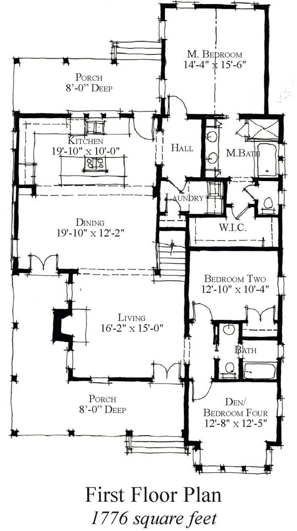 First Floor Plan of Country   Historic   House Plan 73855