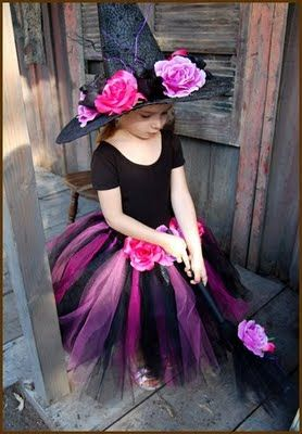 Cute girl's witch costume, super easy to DIY enlarge the pattern and make next years Halloween costume?