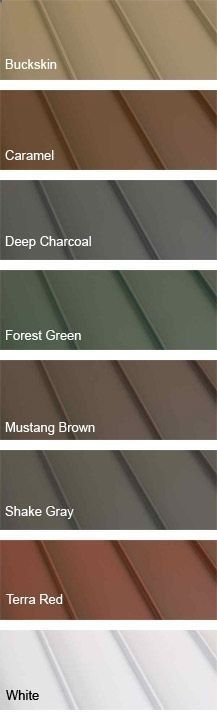 Clicklock Standing Seam Metal Roofing colors. I love the green or red for my log house.