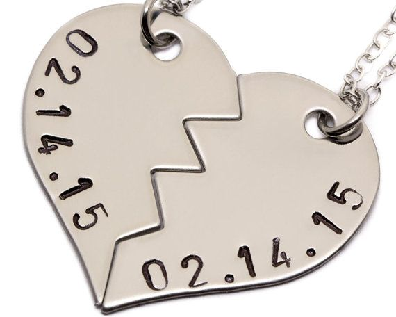 Anniversary Date Necklaces Couples Jewelry by TwentySix7 on Etsy