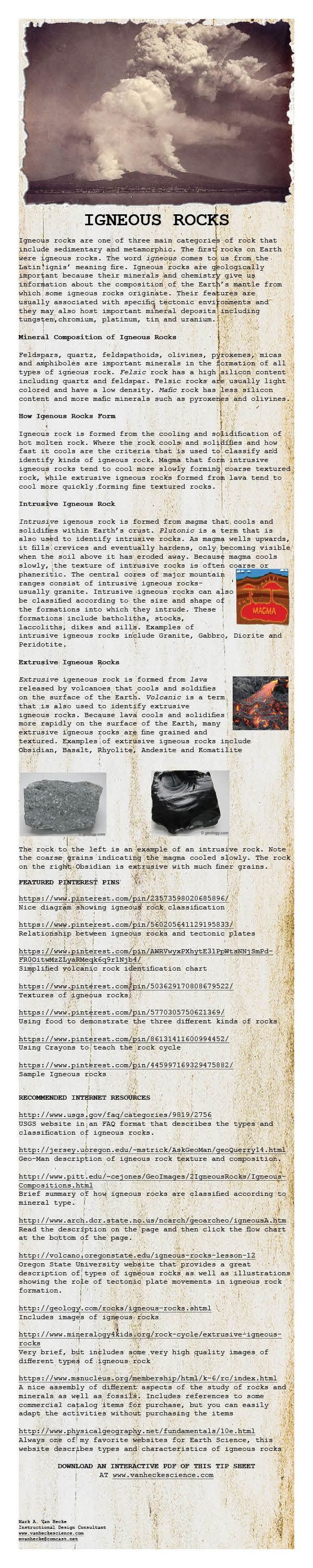 worksheet Igneous Rocks Worksheet 26 best igneous rocks images on pinterest earth science geography use this tip sheet to begin your study of it includes a brief