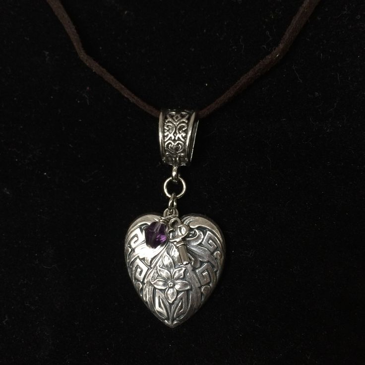 Pendant Necklace - Flower Embossed Heart -  made with love xx by CharmingDeva on Etsy