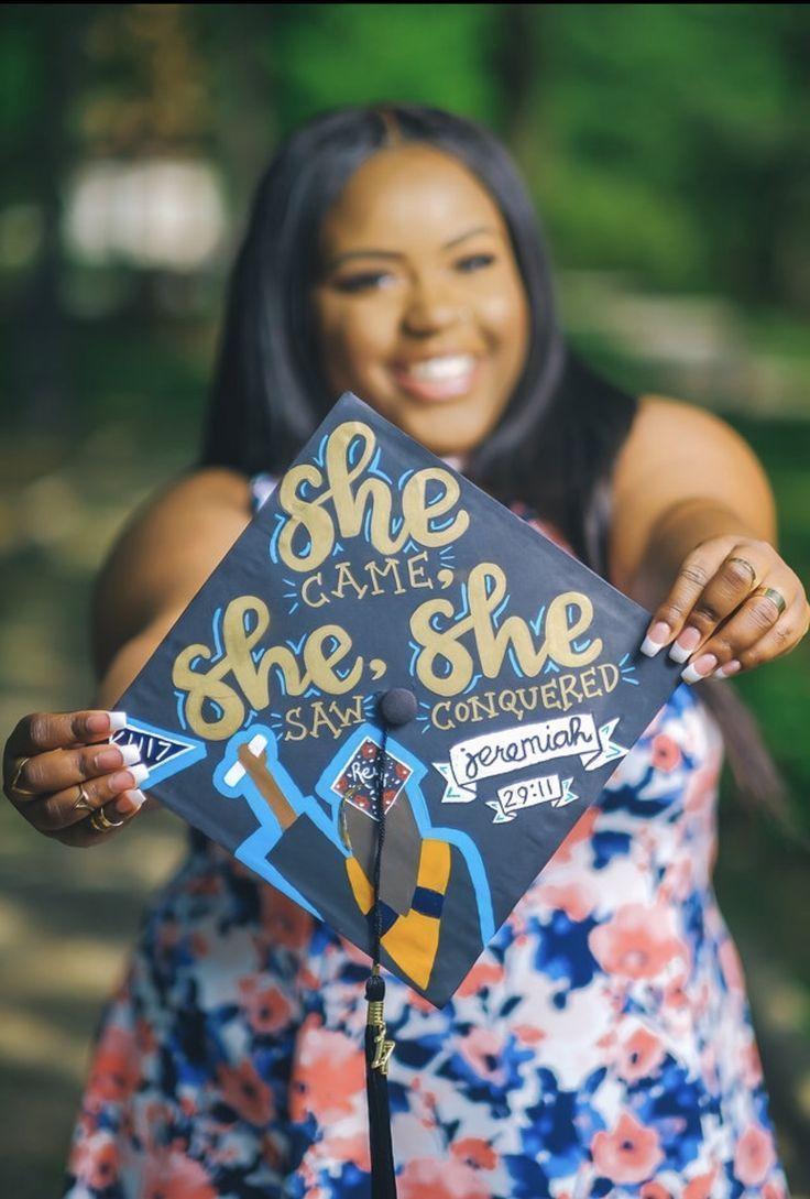 Graduation cap she came, she saw, she won - Decoration For Home - #decoration #Graduation - #DecorationGraduation