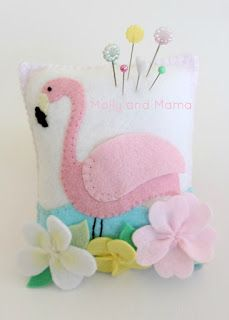 &Stitches: Summer Bloggin': Flamingo Pin Cushion with Lauren of Molly and Mama