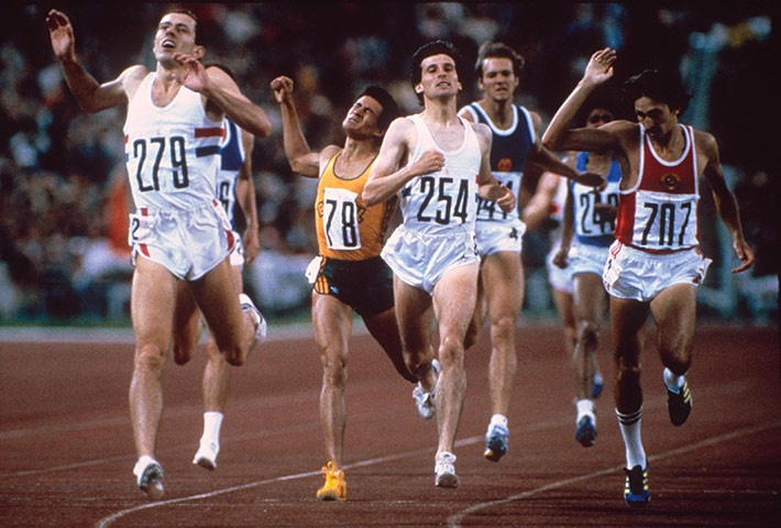 Britain's Steve Ovett beats Seb Coe, Moscow, 1980  The shortest shorts, the skimpiest of snugly fitting singlets, the most futuristic (in 1980) of number fonts. Marvel at their long hair, wafting in the breeze as they zoom to victory (or to disappointment). Behold the moustache, the pulled-up sock – ah, how the men running the 800m in 1980 would fit right in with hipsters hanging out in any park in east London today! While we're here, why do hipster men love short shorts? Discuss