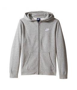 Nike Kids Sportswear Club Hoodie (Little Kids/Big Kids) (Dark Grey Heather/Dark Grey Heather/White) Boy's Sweatshirt