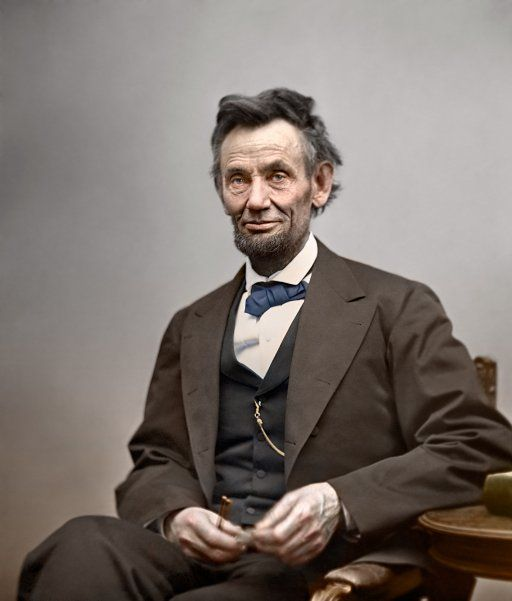 Photo taken by Alexander Gardner that's been colorized. This photo was taken in 1865 just two months before President Lincoln was killed. 16th President of the United States of America.
