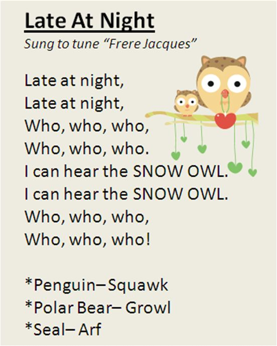 """Late At Night"" song, featuring polar animals. My preschool class LOVES it! Great for Winter time."