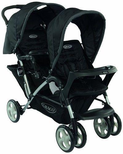 Duo Buggy Stroller Pram Pushchair Twin Double Black Canopy Newborn Baby Shopping