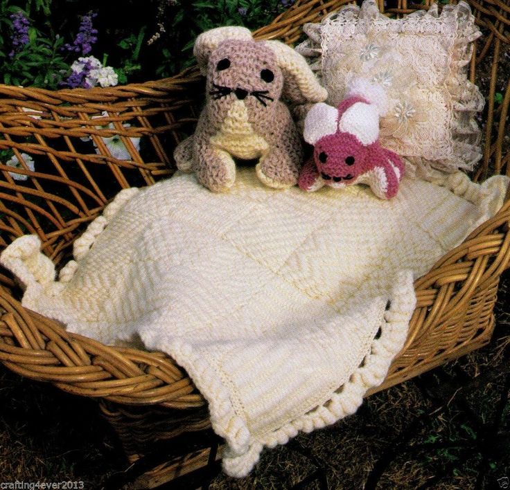 VINTAGE BABY PRAM RUG ARAN  & EMBROIDERED - 65 X 55 CMS - 5PLY KNITTING PATTERN