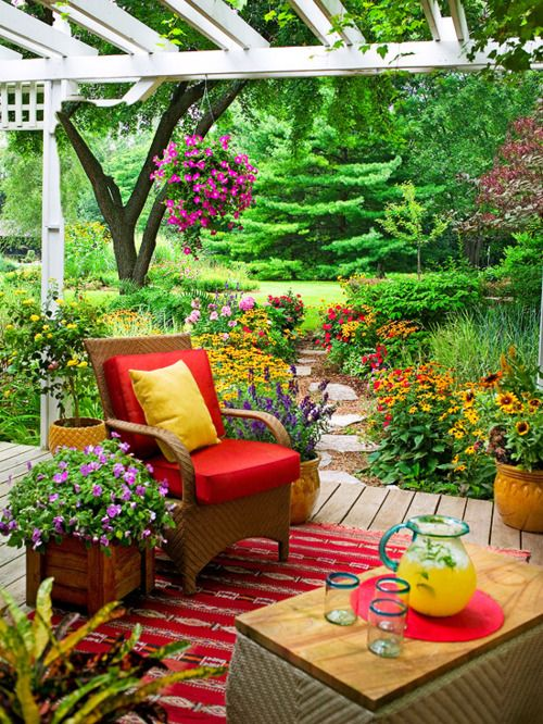 I like the path off the deck with colorful flowers.