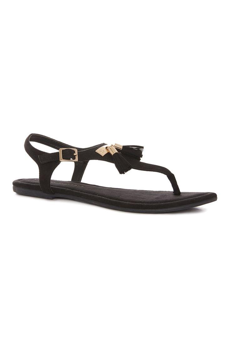 Black sandals primark - Primark Black Tassel Trim T Bar Sandal
