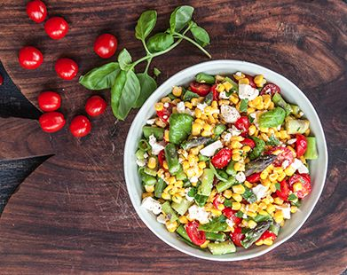 Corn and Feta Salad. This vibrant summer salad has it all – colour, flavour and texture. Make this recipe. 13 mins, serves 5.