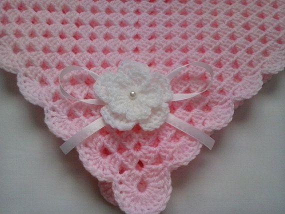 Crochet Baby Blanket, Afghan, Nursery Bedding Baby Girl Christening, Baptism gift pink white flower