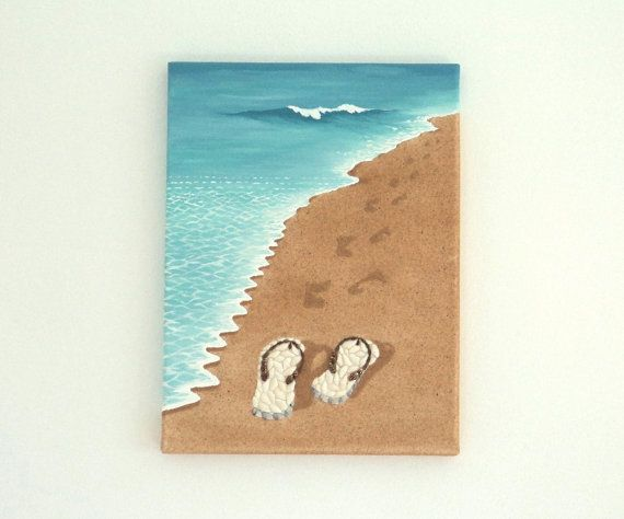 Acrylic Painting, Beach Artwork with Seashells and Sand, Art Wall Picture of Flipflops & Footprints in Seashell Mosaic, Mosaic Art, 3D Art Collage, Home Decor, Wall Decor #ArtworkwithSeashells #mosaiccollage #seashellmosaic #homedecor #walldecor #3D