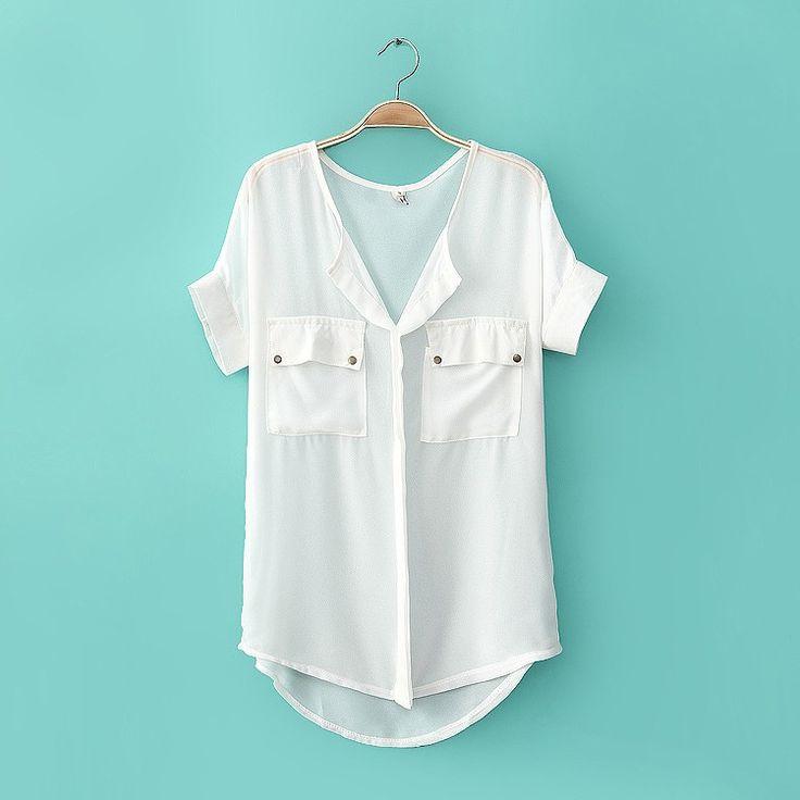 Simple neutral sleeve loose chiffon shirt826 070518 @ luulla $22