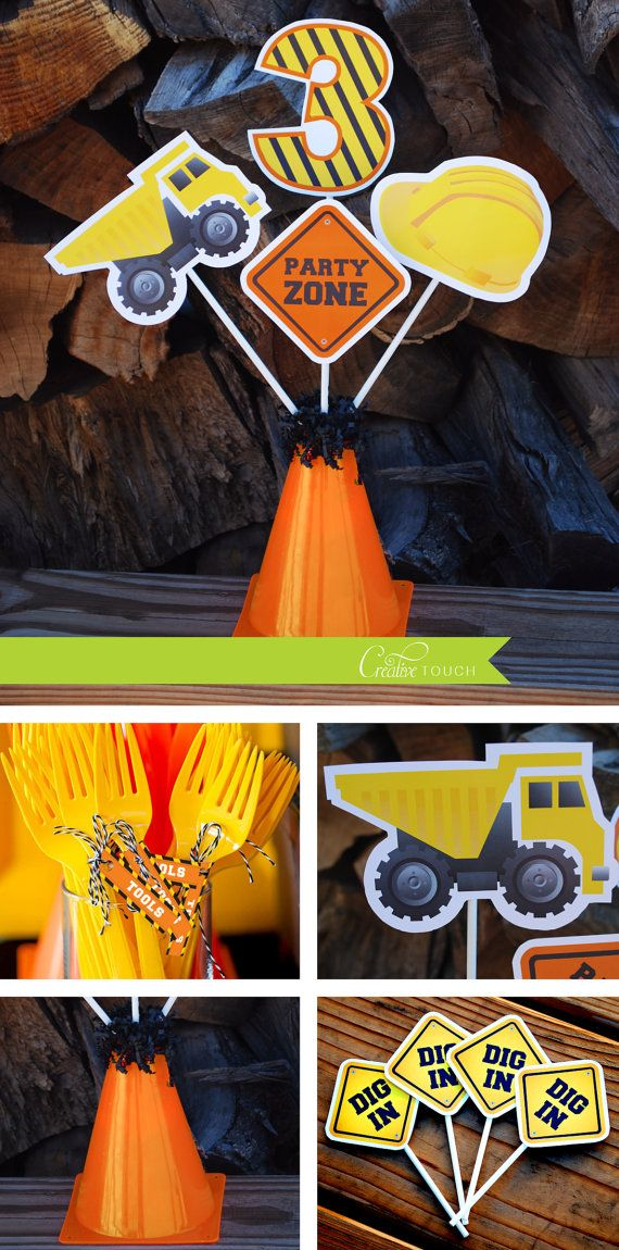 Construction Centerpieces, Tools, Dump Truck, Construction, Party Decorations, Birthday Party, Boys, Birthday Party, Invitation, Thank you Card, Cupcake Toppers, Water Bottle Wraps, Centerpieces, Table Decoration, Mickey, Disney, Birthday Banner, Labels, Favor Tags, Candy Wraps and so much more.