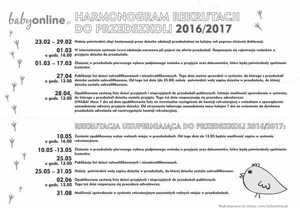 Harmonogram rekrutacji do przedszkoli w Warszawie 2016/2017 - do druku