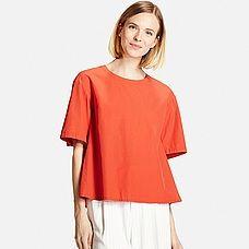 WOMEN Extra Fine Cotton Short Sleeve Flare Blouse