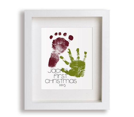 Hand and foot print every Christmas Eve then you can frame and hang up as your Christmas decor.